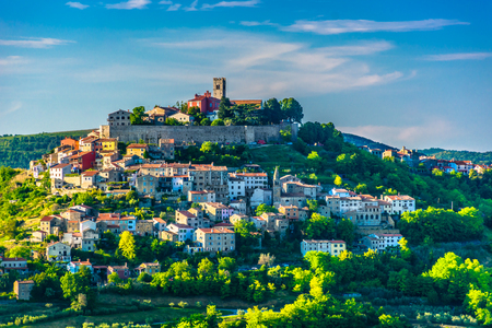 Scenic view at idyllic medieval town on hill in Croatia, Motovun town in Istria. Stock Photo
