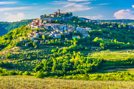 Scenic view at famous Motovun town in Istria region, luxury travel destination in Croatia, Europe.