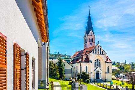 Scenic view at majestic church and landmark in Zagorje region, Krapina town.