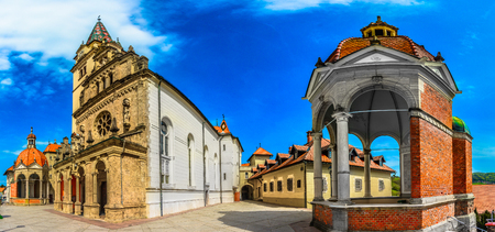 Panorama of architecture in Marija Bistrica marian shrine, cathedral view.