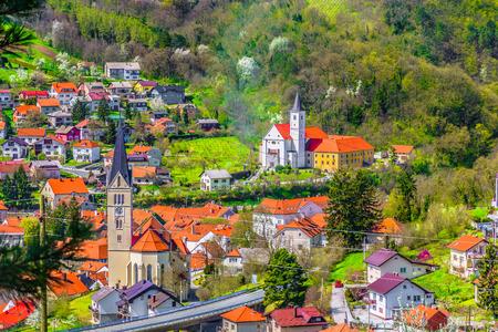 Aerial cityscape of famous Krapina town, Croatia Europe. 版權商用圖片