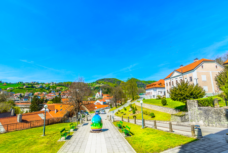 Scenic view at Krapina city center, Zagorje region architecture. 版權商用圖片