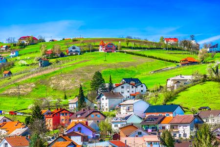 Scenic view at amazing village on Zagorje hills in Krapina, Croatia. 版權商用圖片