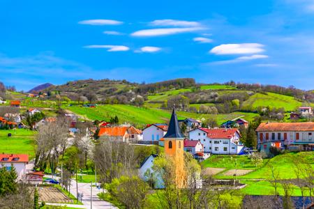 Scenic view at colourful village in Zagorje region, travel places in springtime. 版權商用圖片