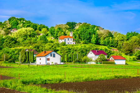 Scenic view at picturesque colorful landscape in springtime, Zagorje region hills.