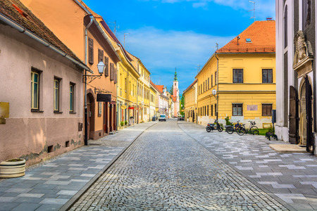Scenic view at old colorful baroque streets and architecture in Varazdin, former capital city in Croatia, Europe.