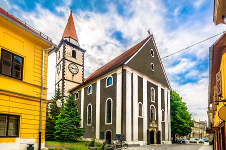 Scenic view at old baroque catholic church in Varazdin city, Croatia Europe.