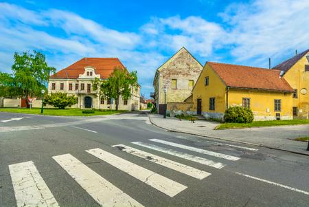 Scenic view at old colorful baroque architecture in Varazdin, former capital city in Croatia, Europe. 版權商用圖片