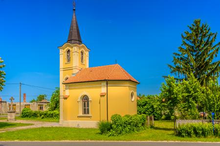 Scenic view at small picturesque church in Zagorje region, Croatia. 版權商用圖片