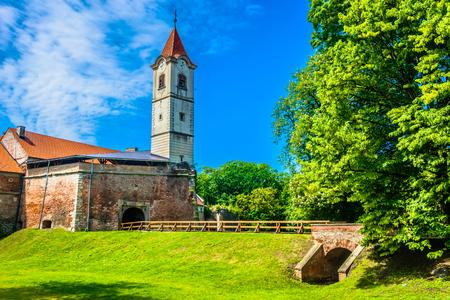 Scenic view at colorful city center in springtime, Northern Croatia, Cakovec. 版權商用圖片 - 108042149