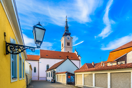Scenic view at old baroque architecture in Krizevci town, Northern Croatia tourist resort.