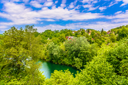 Aerial view a picturesque scenery in Croatia, Kupa river. 版權商用圖片 - 111129557
