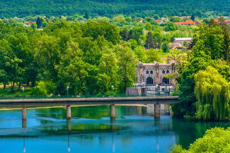 Aerial view at historical fort in Ozalj town, croatian travel destinations. 版權商用圖片