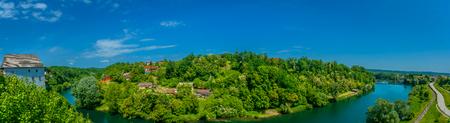 Panorama of amazing landscape in Croatia, Ozalj town scenery. 版權商用圖片 - 110536543
