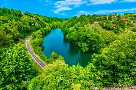 Aerial view at colorful landscape in Croatia, Kupa river nature.