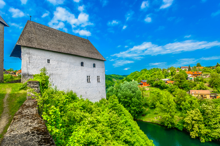 Scenic view at colorful landscape in Ozalj place, Kupa river scenery.