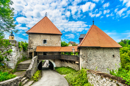 Scenic view at historical architecture in Ozalj town, Croatia.