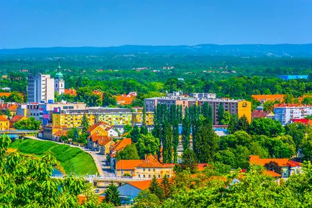 Aerial view a colourful cityscape in Karlovac town, Croatia. 版權商用圖片