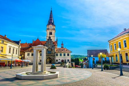 Scenic view at colorful famous square in center of Marija Bistrica shrine, Croatia Zagorje region. 版權商用圖片