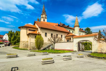 Scenic view at famous catholic tourist resort in Zagorje region, Marija Bistrica. 版權商用圖片 - 118445700