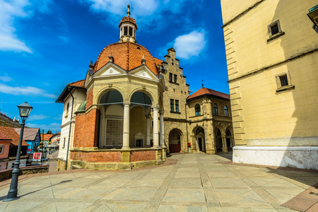 Scenic view at stone marble architecture in front of cathedral, Marija Bistrica.