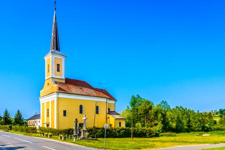 Scenic view at colorful nature and architecture in Zagorje region, Croatia. 版權商用圖片