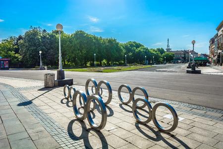 Scenc view at city center in Koprivnica town, Croatia Europe. 版權商用圖片