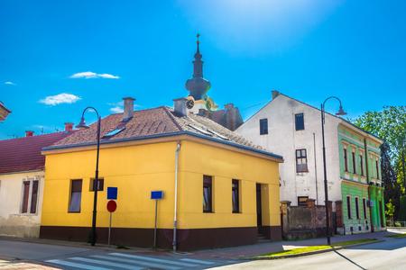 Scenic viewat marble colorful street in Koprivnica, Croatia Europe.