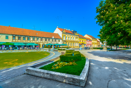Scenic view at idyllic park and colorful architecture in city center of Koprivnica travel destination, Croatia Europe.