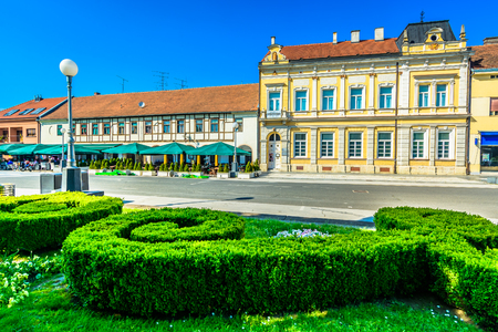 Scenic view at colorful architecture in city center of Koprivnica tourist resort, Croatia Europe. 版權商用圖片 - 118445768