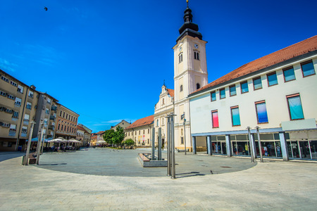 Scenic view at colorful architecture in city center of town Cakovec, picturesque tourist resort in Northern Croatia, Europe.