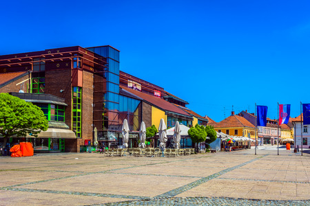 Scenic view at colorful architecture in city center of town Cakovec, small tourist town in Northern Croatia, Europe. 版權商用圖片