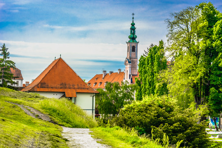 Scenic view at picturesque town Varazdin, former capital city of Croatia, european travel destination.