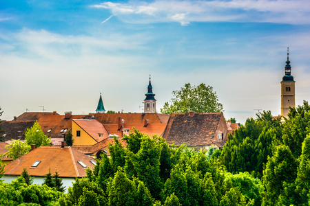 Aerial view at colorful picturesque old town Varazdin in Northern Croatia, Europe.