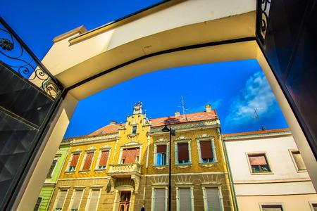 Scenic view at colorful architecture in Koprivnica city, famous travel destination in Northern Croatia.