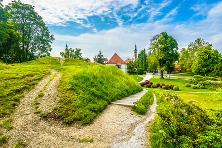 Scenic view at picturesque colorful park in Varazdin old town, Croatia Europe.