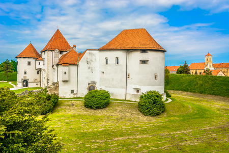 Scenic view at old medieval landmark in Varazdin town, famous travel places in Croatia.