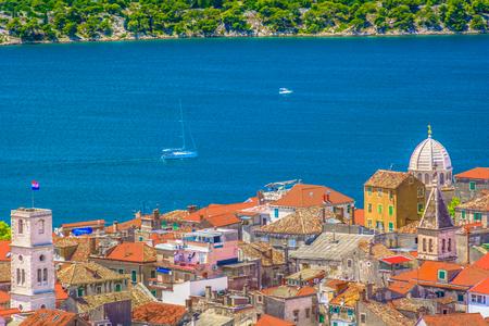 Aerial view at famous historical architecture in Sibenik town, Dalmatia region.