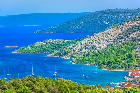 Aerial view at amazing coastline in Croatia, Vinisce bay scenery.