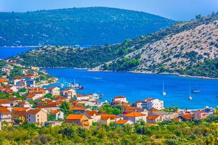 Aerial view at small picturesque place Vinisce in Dalmatia, Croatia. 版權商用圖片