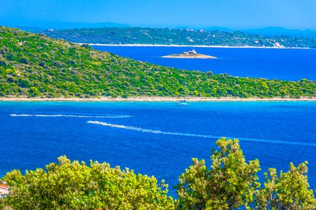 Aerial view small picturesque town Sevid in Dalmatia region, Croatia, summer travel places.