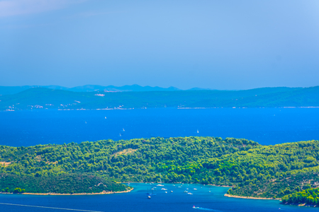 Aerial view at picturesque marble bay at Ciovo peninsula, Dalmatia Croatia. 版權商用圖片