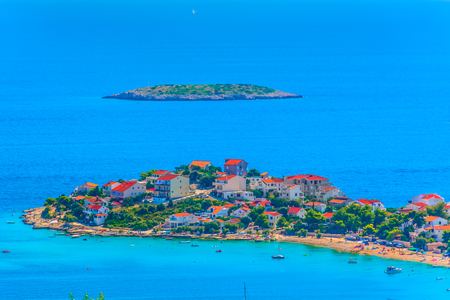 Aerial view small picturesque town Sevid in Dalmatia region, summer travel places.