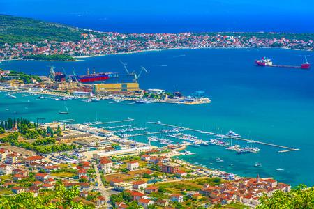 Aerial view at famous industrial shipyard in Dalmatia region, Trogir Riviera.