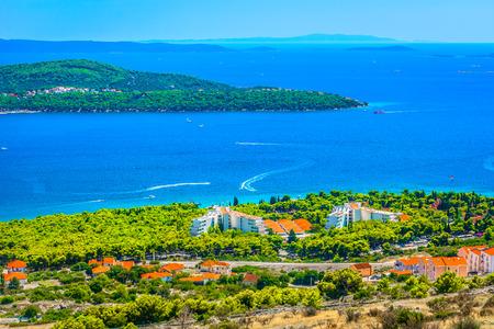 Scenic view at picturesque Adriatic Coast in Croatia, Dalmatia region. 版權商用圖片