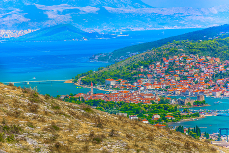 Aerial view at marble cityscape of town Trogir in Central Dalmatia, Croatia Europe.