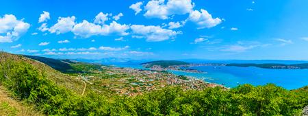Panorama of Split Riviera in Dalmatia region, popular summer destination in Croatia, Europe.