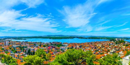 Panorama of colorful cityscape of town Sibenik in Dalmatia region, Croatia Europe. 版權商用圖片