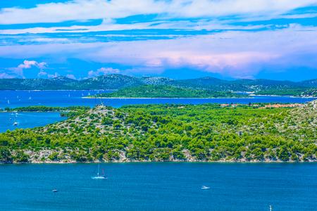 Scenic view at marble Adriatic Sea in Croatia, Dalmatia region . 版權商用圖片