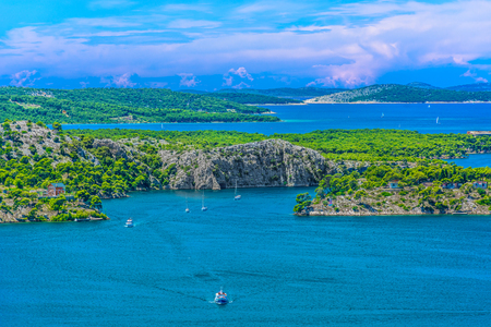 Aerial view at marble Sibenik Channel in Croatia, summer tourist resort.
